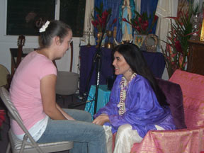 Mirabai working with a Darshan participant